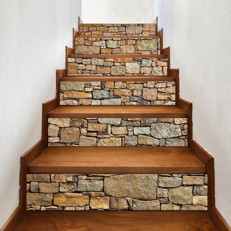 Juego de 6 unidades de escalera de piedra 3D, escalera elevadora, pegatina de suelo autoadhesiva DIY, escalera impermeable, etiqueta de pared de PVC