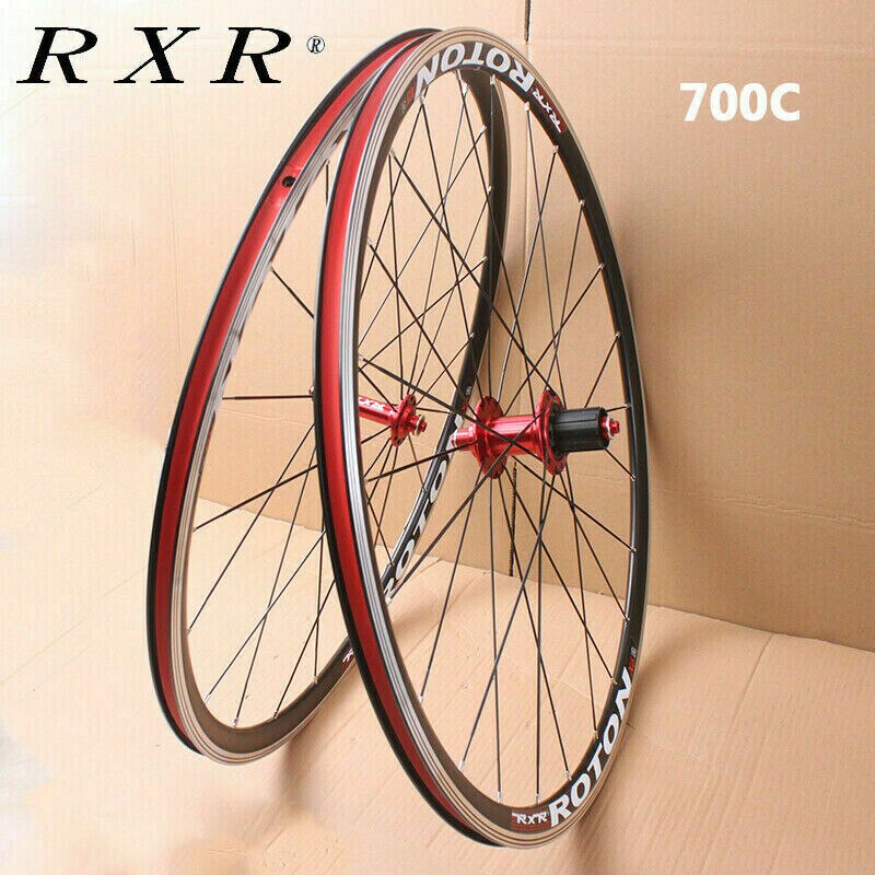 Juego de ruedas RXR MTB 700C para bicicleta de montaña, ruedas de 7-11 velocidades, aleación de aluminio, freno en V, juego de ruedas delanteras traseras aptas para Cassette 7-11 S
