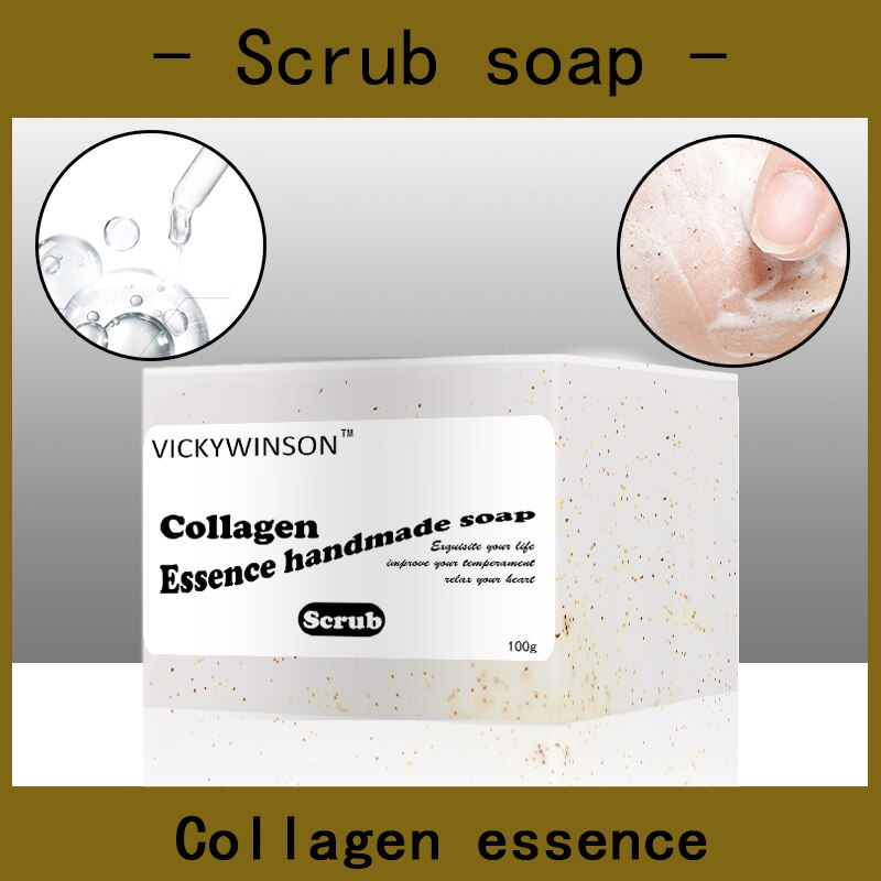 Collagen essence scrub soap handmade Soap 100g Amino acid soaps Natural Anti Acne Pore for Face Firming Lifting Whitening nicole soaps beveler planer wood box for handmade soap making tools