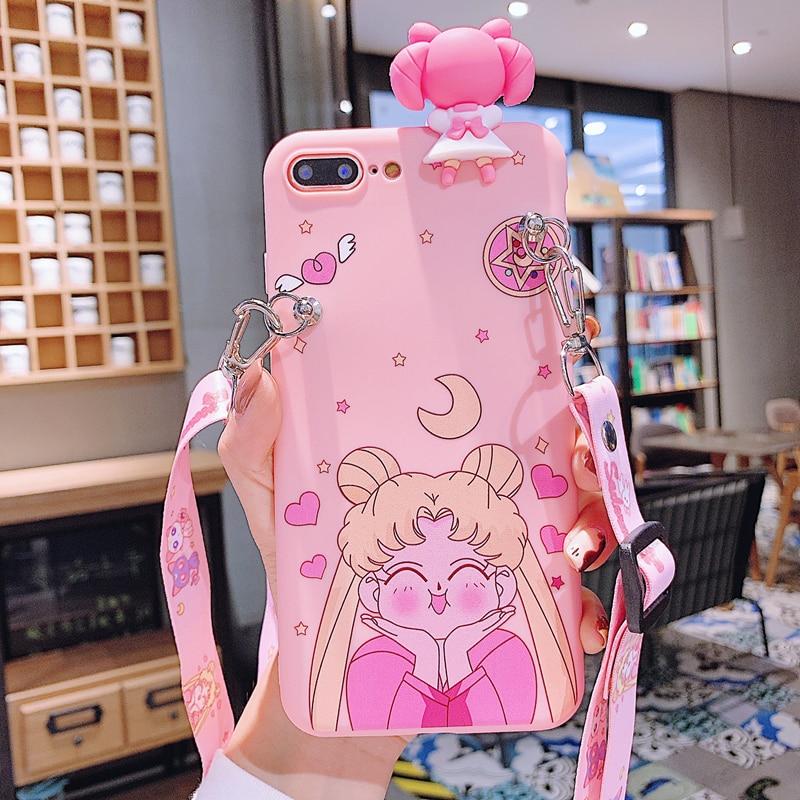 Funda suave de Sailor Moon de dibujos animados en 3D rosa con cordón para iphone 7, funda bonita para iphone 6 6S 7 7plus 8 XR XS MAX 11 PRo MAX