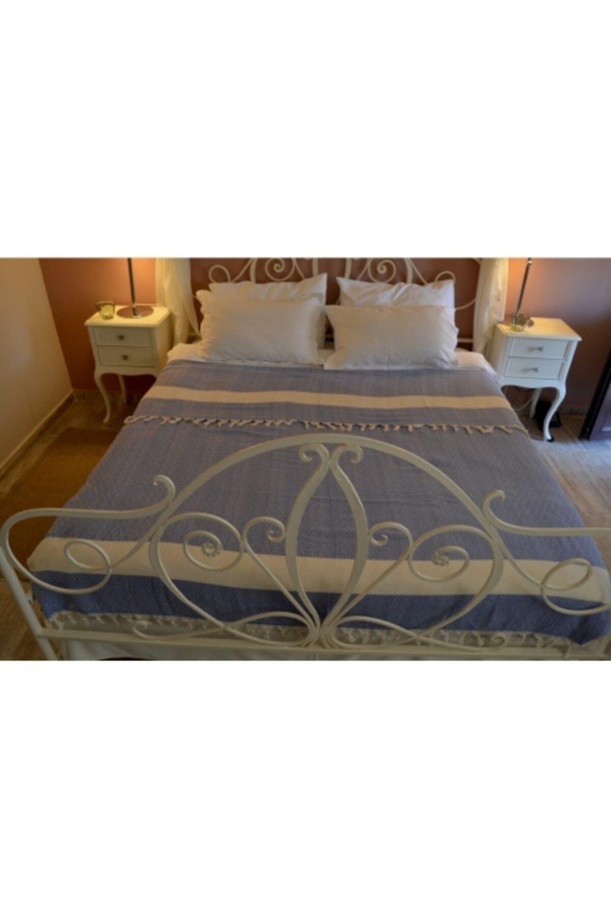 غطاء مقعد وسرير بايك أزرق 200x240 قطن Çarşafsız