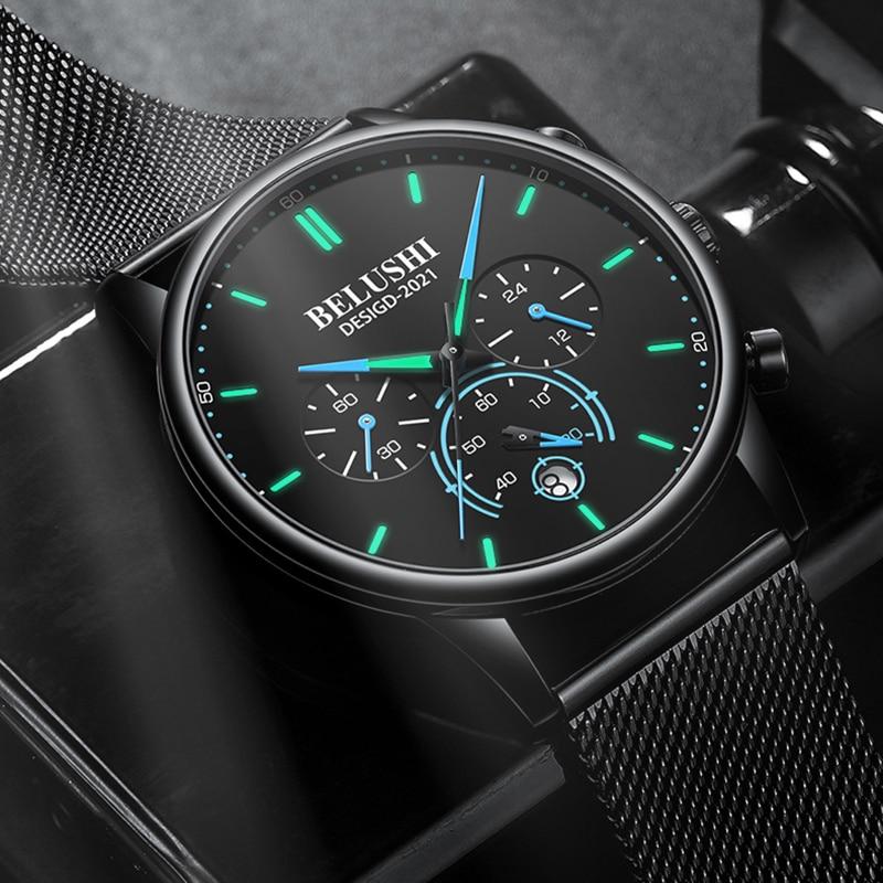 BELUSHI 2021 New Fashion Mens Watches Top Luxury Brand Sport Quartz Luminous Waterproof Chronograph Wristwatch