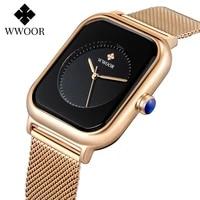 wwoor new design women watches fashion rectangle black bracelet watch for women top luxury square quartz wrist watch ladies 2020