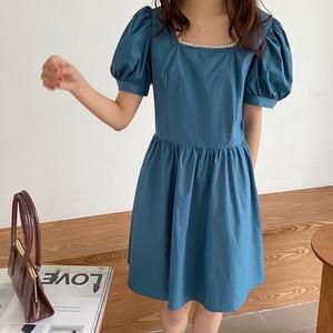 Dress Elegant short Dress New 2020 Style Square Collar sexy dresses party night club dress Puff Shorts Sleeve Blue Dress 841F
