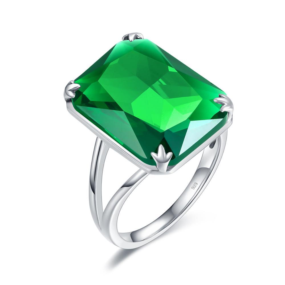 Anillos de esmeralda de oro blanco de 18K para mujer, anillo de plata 925 a la moda, joyería para mujer, marca de regalo de aniversario de boda, regalo de fiesta al por mayor