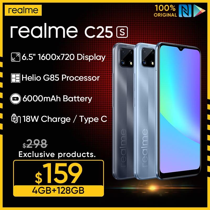 Перейти на Алиэкспресс и купить Realme C25 смартфон с 5,99-дюймовым дисплеем, восьмиядерным процессором Helio G70, ОЗУ 4 Гб, ПЗУ 64 ГБ, 6000 мАч, 6,5 мАч