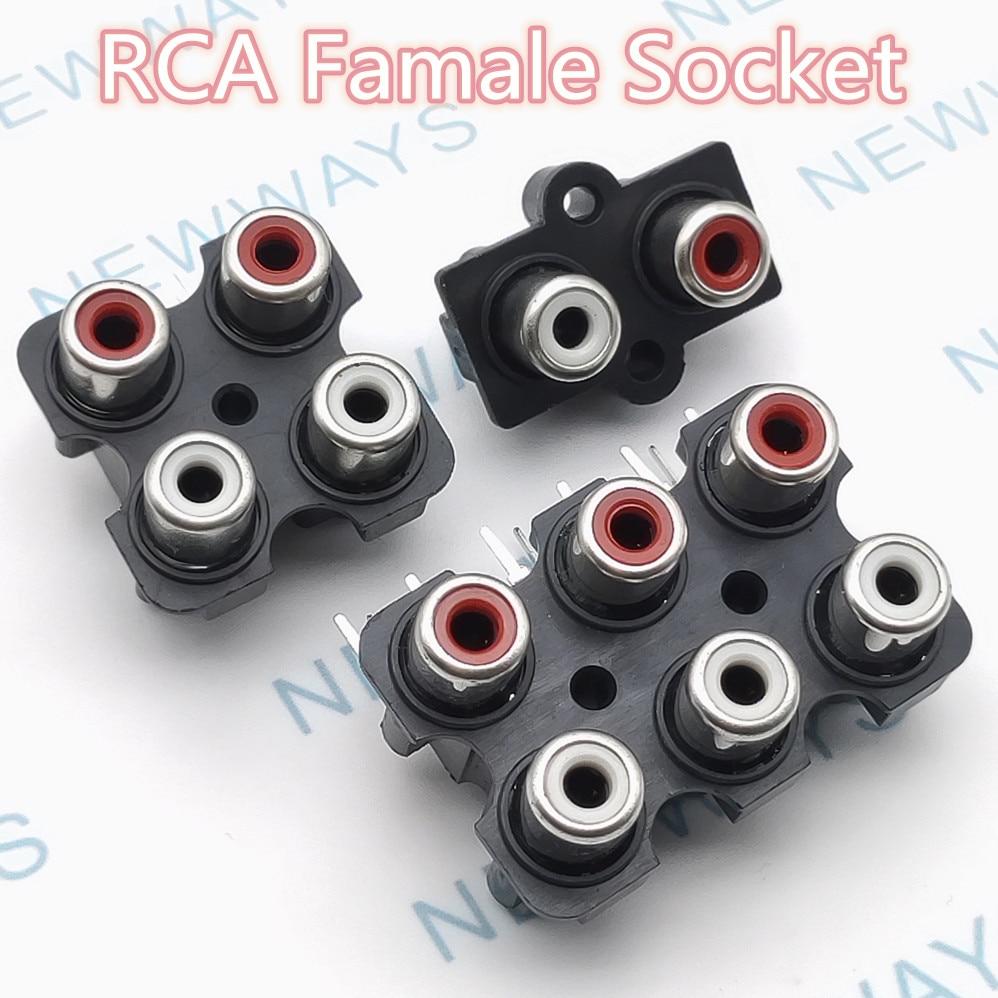 2 шт. красный и белый цвет 2 отверстия 3pin/4 отверстия 6pin/6 отверстий 9pin RCA Женский аудио-видео разъем AV концентрический разъем