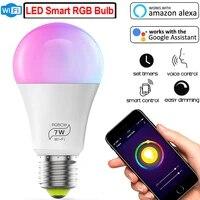 Ampoule LED magique 7 W E27 RGB Wifi  lumiere intelligente  variable  decoration de fete a domicile  commande vocale  avec Alexa et Google Assistant D30