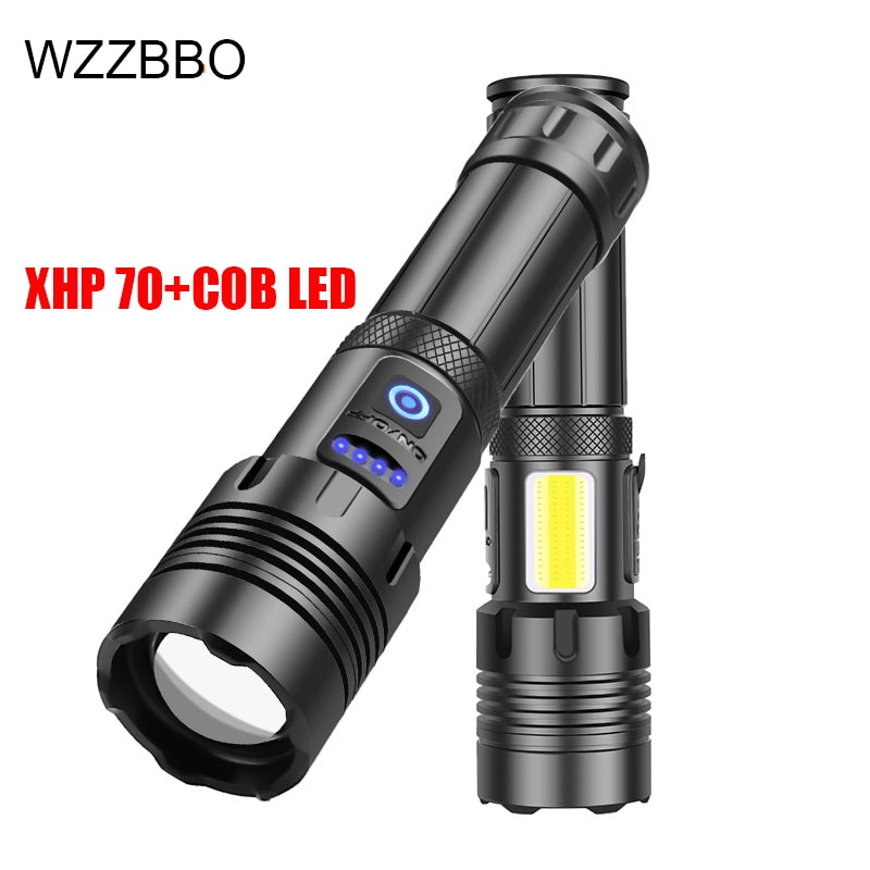 Powerful LED Flashlight With XHP 70  LED Torch  hunting lamp tactical flashlight  rechargeable lantern 18650 26650 battery