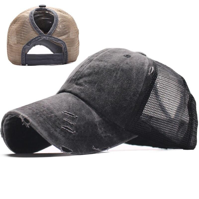 Women Summer Ponytail Hat Patchwork Distress Messy Bun Baseball Cap Hip Hop Female Mesh Trucker Hat Washed Summer Snapback Hat