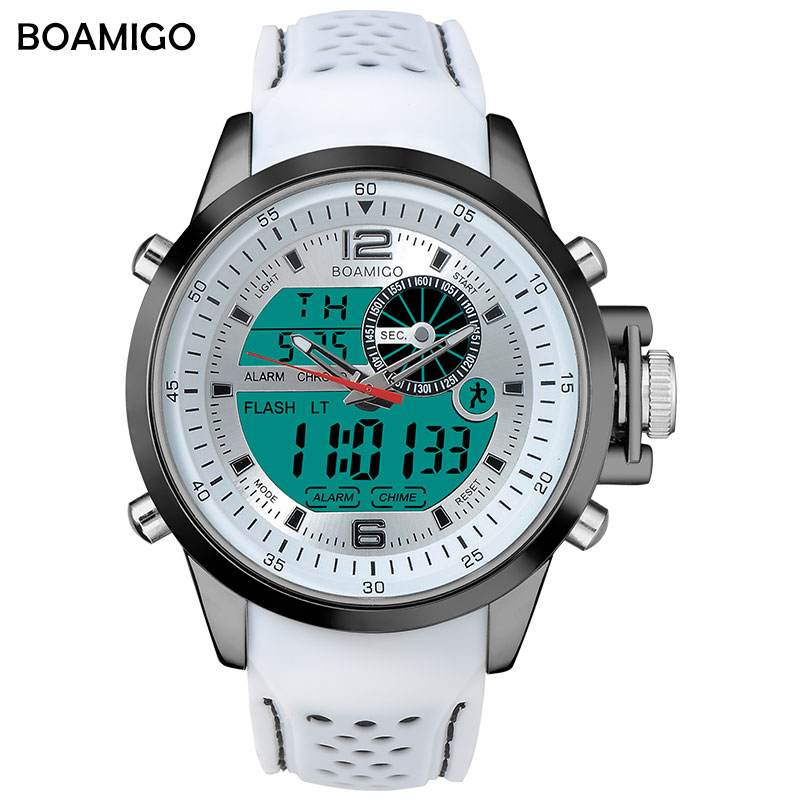 Boamigo marca esporte masculino relógios multifunction branco led digital analógico quartzo pulseiras faixa de borracha 30m à prova dwaterproof água