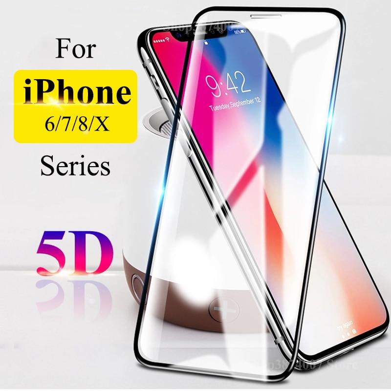 Vidrio Protector 5D para iPhone 6 s 6 s s6 7 8 Plus X 10 Aphone Tremp Glas i Protector de pantalla de teléfono película de Aifon templado 9H