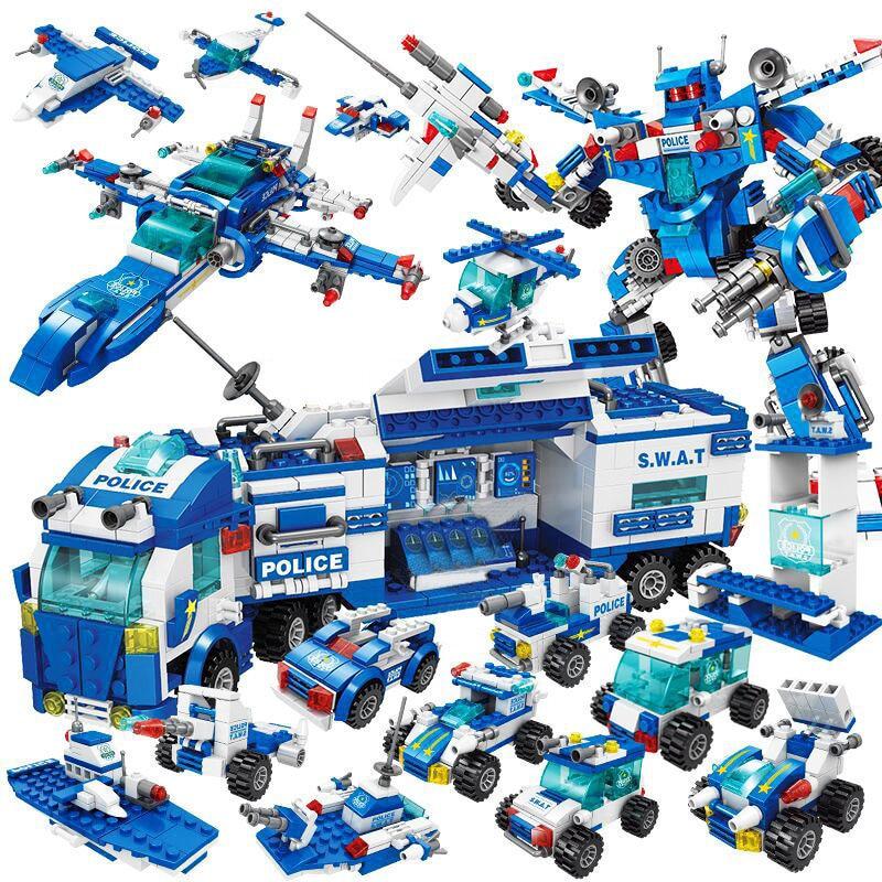 Bloques de construcción de la sede del coche de la estación de policía de la ciudad LepiningTechnic Truck SWAT WW2 Militaringlys ladrillos juguetes para niños