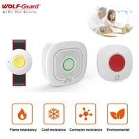 Wolf-Guard     Kit de systeme dalarme domestique Wifi  3 pieces  vie intelligente Tuya  433MHz  sirene sans fil  alarme durgence pour personnes agees patients