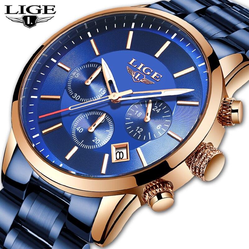 Reloj azul a la moda para LIGE, reloj para hombre, reloj de cuarzo de lujo, resistente al agua, de acero inoxidable, reloj Masculino, cronógrafo