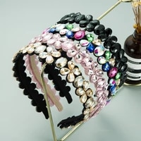 personality spring colorful crystal flower headband elegant shiny glass drill metal belt hairband girls party hair accessories