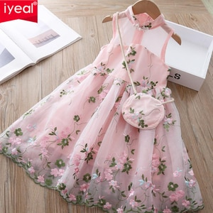 IYEAL Girls Dress New Kids Clothes Sweet Princess Dresses With Bag for Girls Clothing Costume Girls Party Dresses Vestido 2-12Y