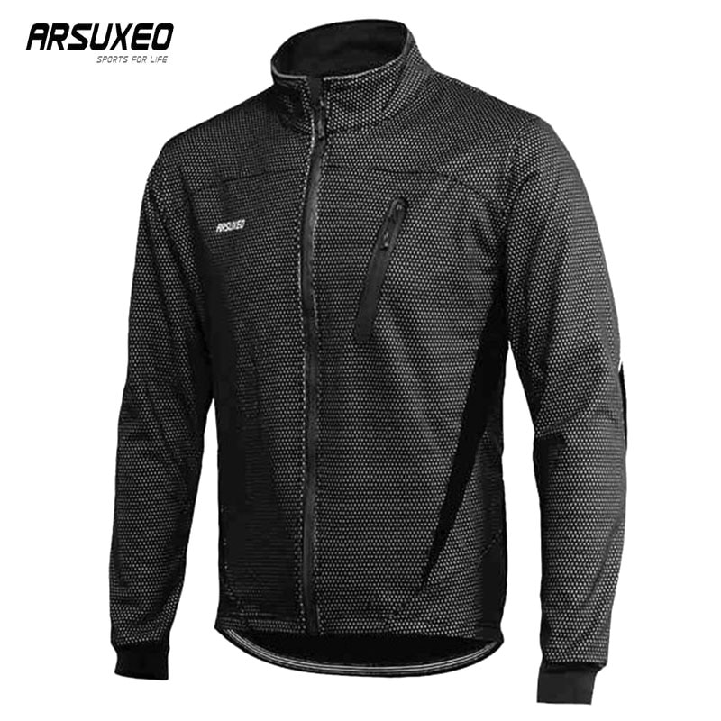 ARSUXEO Fleece Cycling Jacket Man Winter Thermal Bicycle Jacket Waterproof Road Bike Coat Windproof Reflective MTB Jacket
