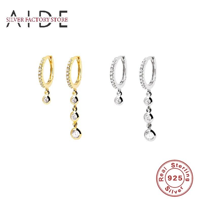 AIDE Asymmetric Zircon Setting Earrings Hoops 925 Sterling Silver For Women Jewelry Earring Aretes De Mujer