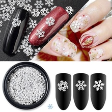 1Box Ultra-dünne Pailletten Weihnachten Schneeflocke Hohl Weiße Schneeflocke Weihnachten Dekoration Nagel Ornamente