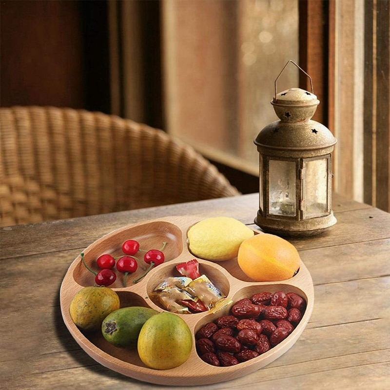 Деревянные закуски, сервировочное блюдо бытовой 5 отделений закуски тарелка для сухих фруктов конфеты поднос круглый разделены блюдо лоток-2
