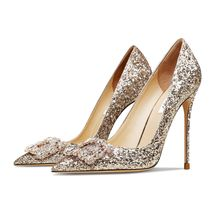Black High Heel Pointed Toe New Glitter Rhinestone Ladies High-Heeled Shoes 2021 Women's Shoes Party