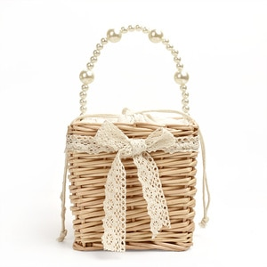 New Small Square Bag Net Red Female Bag Ins Same Straw Bag Wild Mini Foreign Style Hand-woven Pearls Handbag
