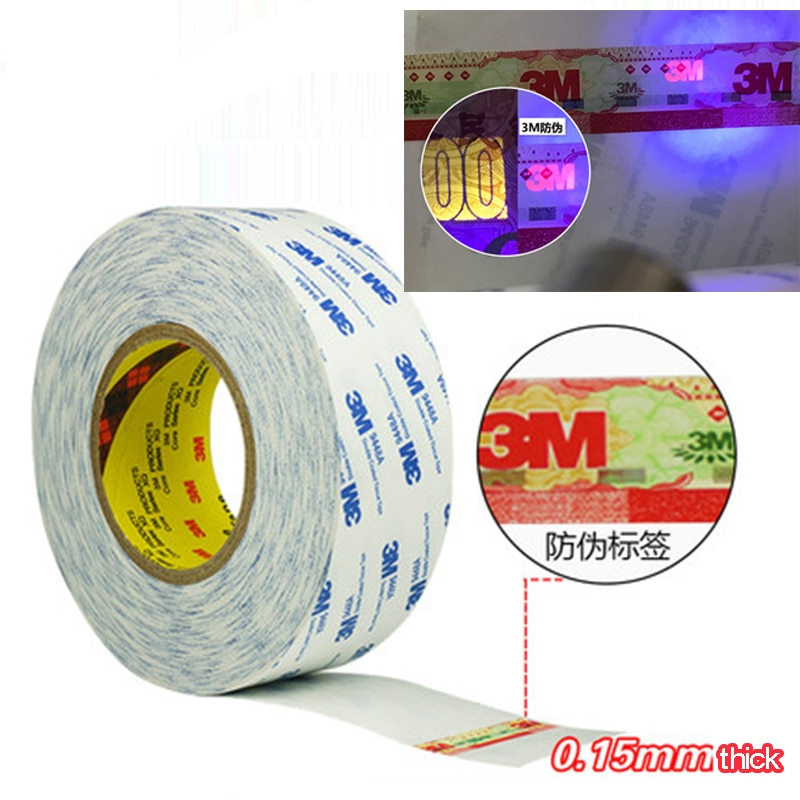50m Double Sided Tape White Super Strong 3M Double Sided Adhesive Tape Paper Strong Ultra Thin High Adhesive Cotton DIY Craft double sided cotton paper tape 12mm 9 1m white hot melt cotton paper tape home double sided adhesive school office stationery