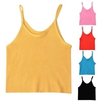 women summer spaghetti strap navel crop top sweet bright solid candy color camisole u neck ribbed knitted bodycon sport vest str