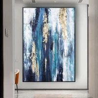 hand painted abstract oil painting blue golden modern mural art for home canvas painting living room large sofa decor painting