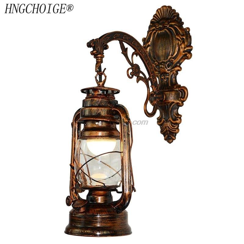 Lámpara de pared LED Vintage, linterna para Granero, luz de pared de queroseno Retro, estilo europeo antiguo