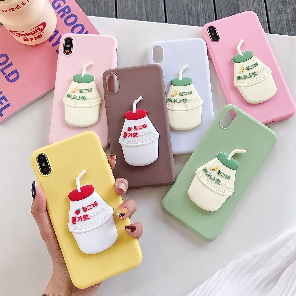 Korea Milk Bottle Phone Case For Vivo IQOO Pro 5G S1 Plus Y7S Z5 V17 Neo Nex A S V11 X21s V11i V15 S1 Drink Soft Silicone Cover