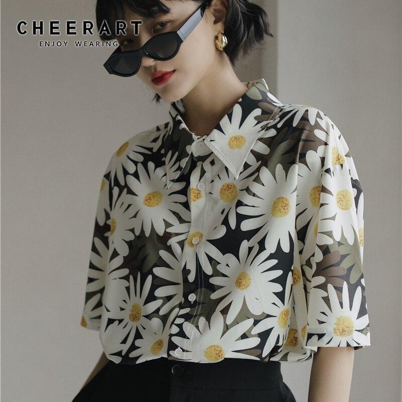 CHEERART-chemisier à fleurs pour femmes, haut dété à manches courtes, col boutonné, ample, à la mode, décontracté