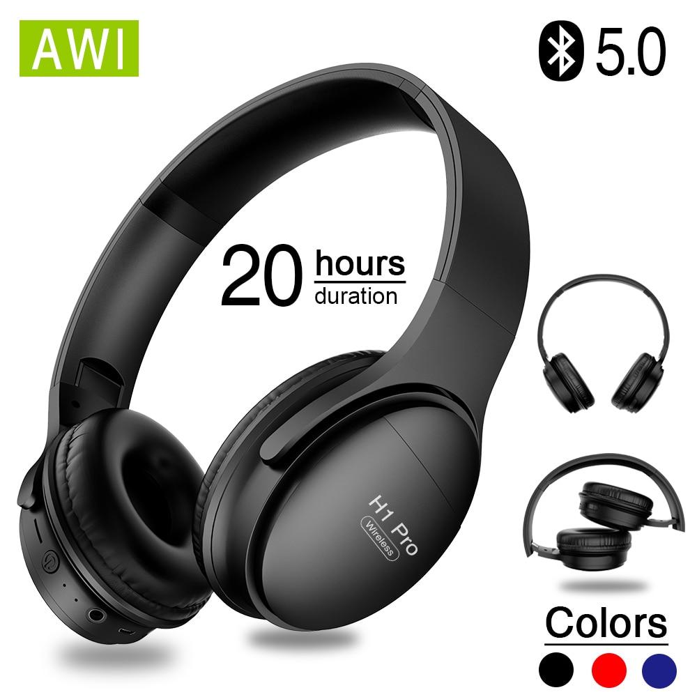 Auriculares inalámbricos Bluetooth AWI H1 Pro, auriculares para juegos con cancelación estéreo hifi ruido y micrófono, compatible con tarjeta TF