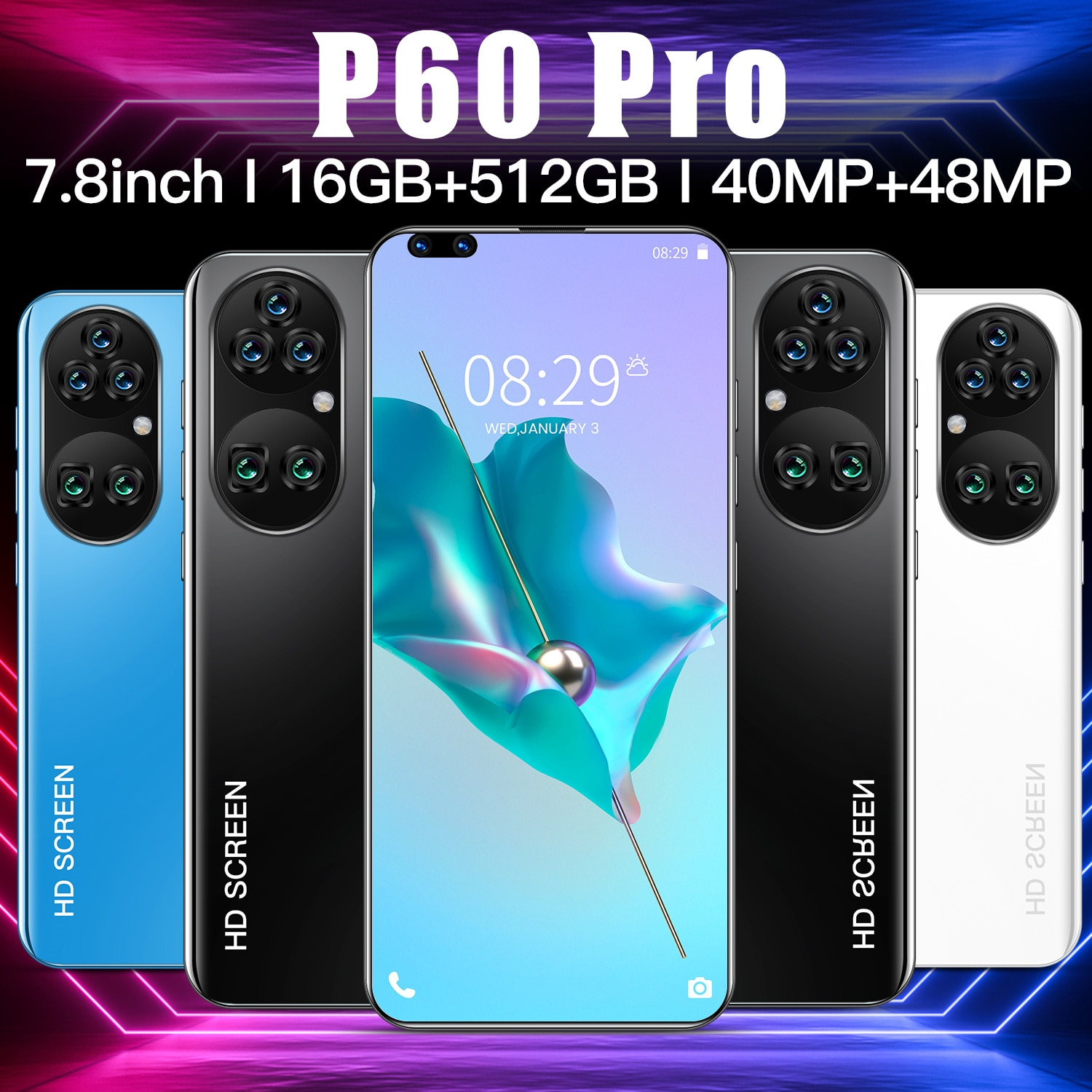 Global Version P60 Pro Global Version 7.8inch 16GB+512GB 5600mAh 40MP+48MP 5G Network Android10.0 GPS 10-Core Unlock Smartphone