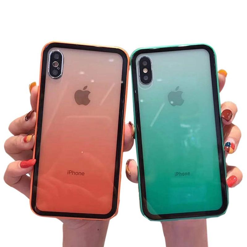 Радужный градиентный карамельный цвет чехол для телефона для Apple iPhone 11 PR0 6 6s 7 8 Plus 10 X XS XR Max мягкий прозрачный акриловый + ТПУ чехол для телефона