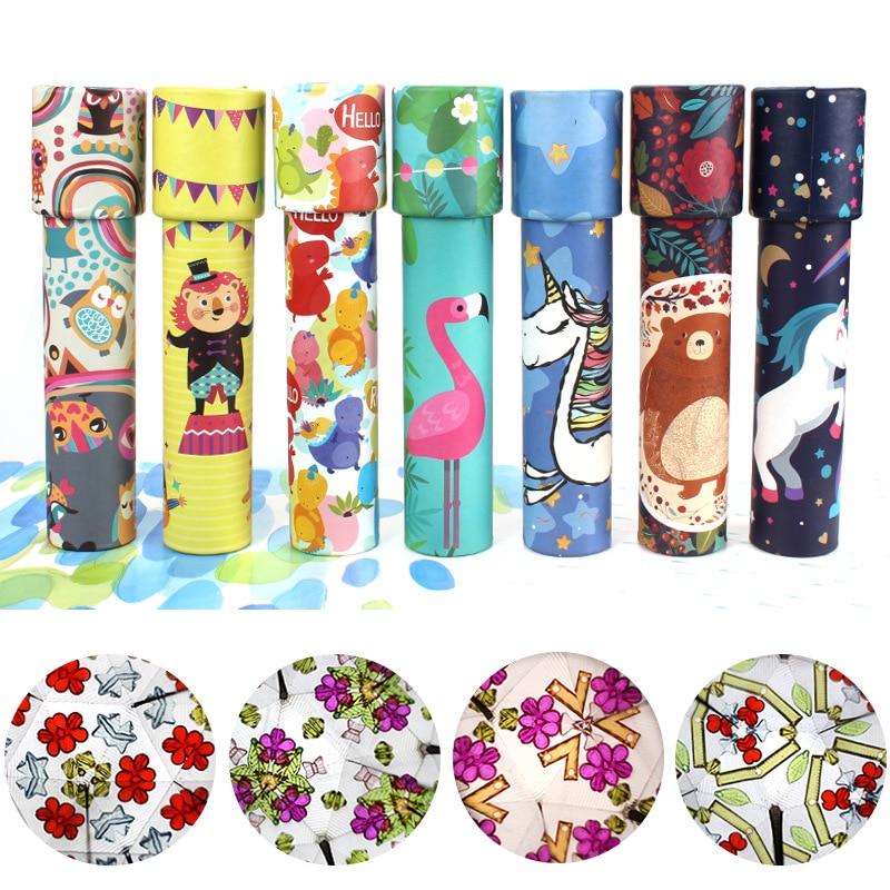 Caleidoscopio giratorio de dibujos animados, caleidoscopio mágico del mundo colorido, unicornios de juguete educativos para niños, regalo de cumpleaños