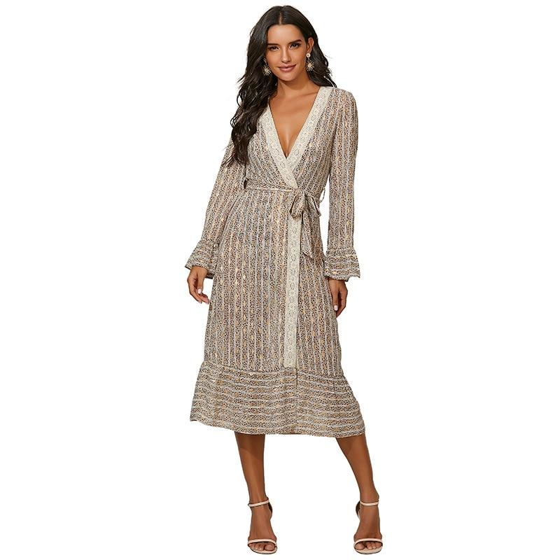 long sleeve scrawl printed v neck tee New Women's Ruffled V-neck Sexy Long Sleeve Printed Belted Dress