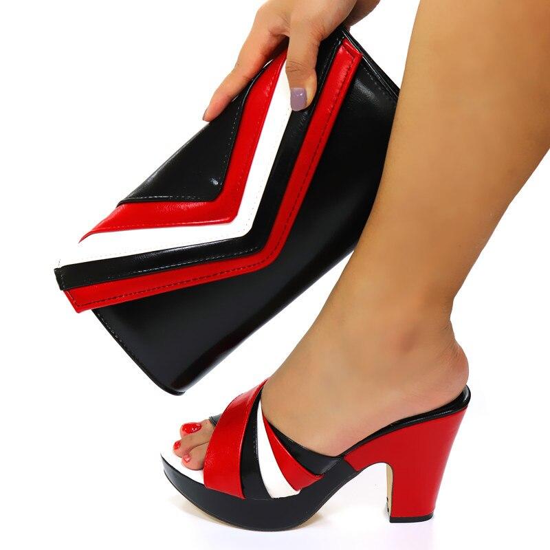 Doershow الايطالية حذاء وحقيبة مجموعة جديدة 2020 النساء الأحذية وحقيبة مجموعة في إيطاليا أسود اللون الأحذية الإيطالية مع أكياس مطابقة! HGF1-3