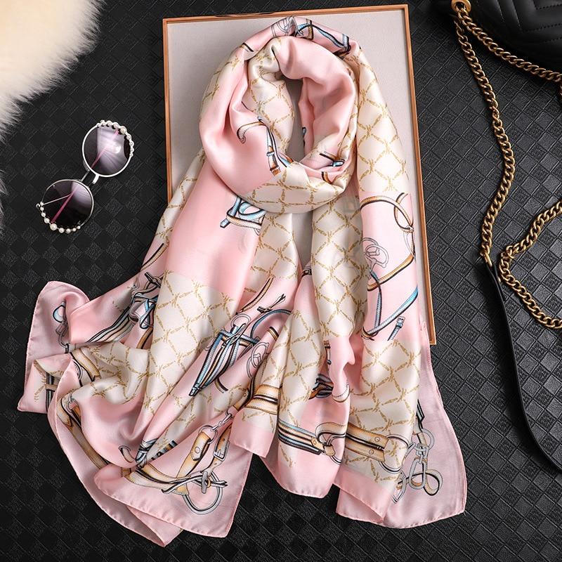 2020 Luxury brand print silk scarves summer women hijab scarves soft long lady shawl and wrap pashmi