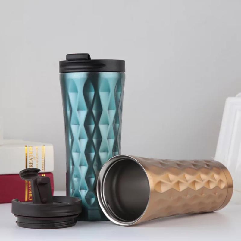 Doble capa portátil de acero inoxidable taza de café de doble capa vaso gradiente de coche taza de café agua potable termos de viaje