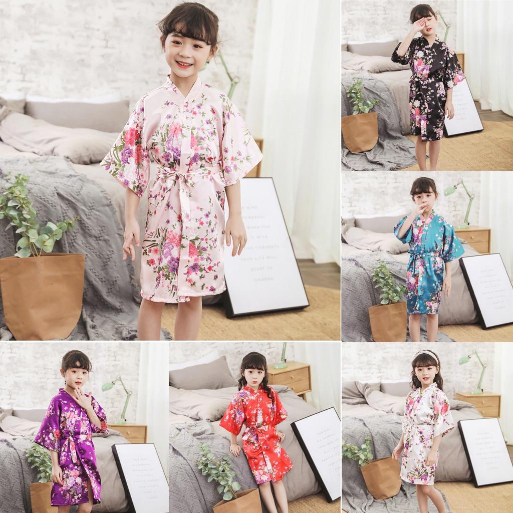 Children's Nightgown Baby Girls Clothes  халат Toddler Baby Kid Girls Floral Silk Satin Kimono Robes Bathrobe Sleepwear Clothes