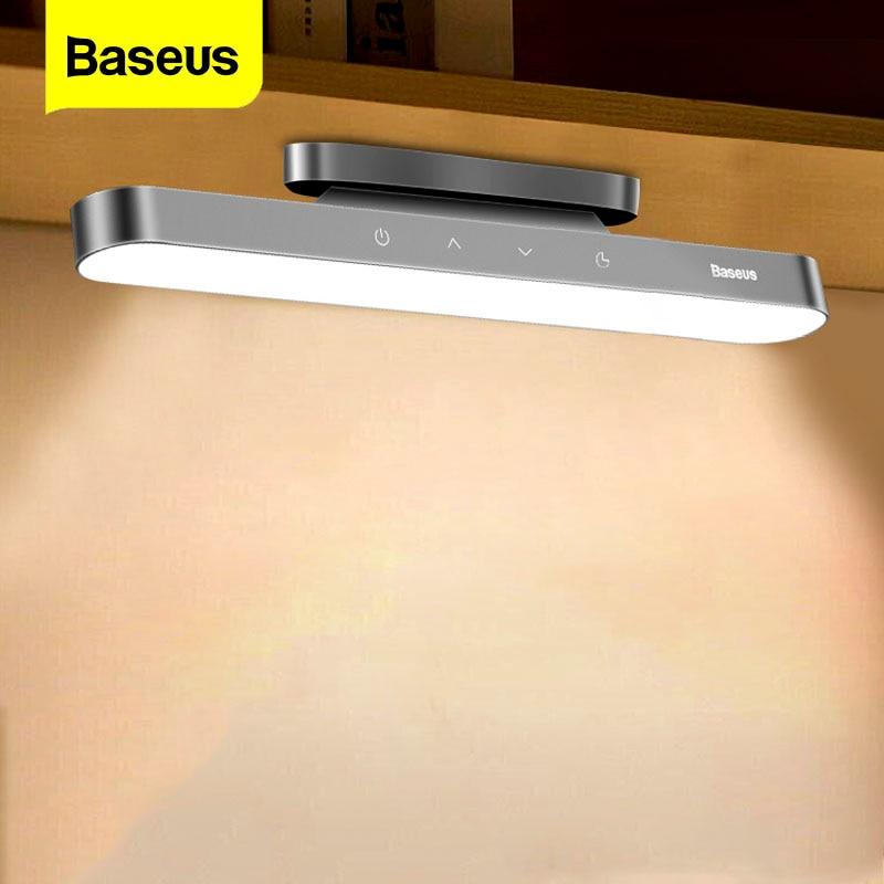 Baseus-مصباح LED مغناطيسي معلق ، قابل لإعادة الشحن عبر USB ، شدة إضاءة قابلة للتعديل ، مثالي لمكتب أو غرفة نوم أو طاولة قراءة