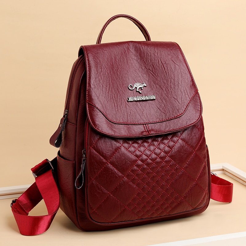 Luxury Hot Women Backpacks Designer High Quality Soft Leather Fashion Back Bag Brand large capacity Female Bags Girls School Bag