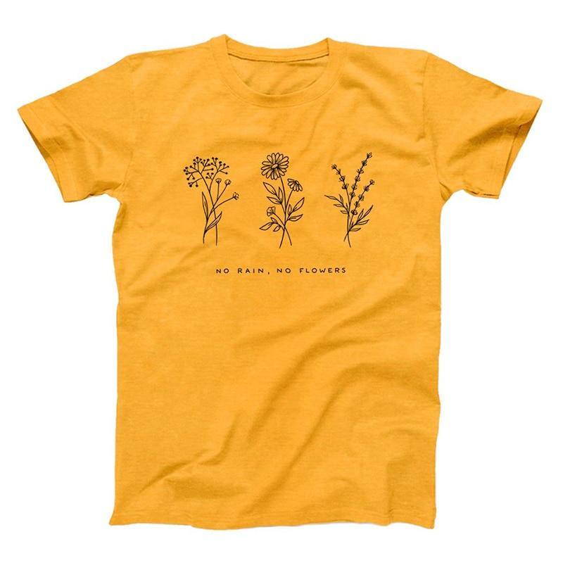 No Rain No Flower gráfico camisetas mujeres 90s Grunge Kawaii Floral impresión camiseta Streetwear algodón camisetas de talla grande Dropshipping