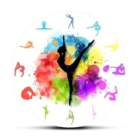 gymnastics girls colorful printed wall clock sports home decor gymnast moving clock hands decorative wall watch for girls room