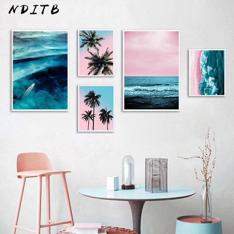 Lienzo de árbol de palma de playa de océano rosa, cartel de naturaleza nórdica, paisaje marino, Impresión de arte de pared, pintura escandinava, cuadro decorativo para el hogar