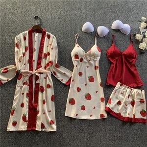 Women Satin Print Sleepwear 4 Pieces Pyjamas Sexy Lace Pajamas Sleep Lounge Pijama Silk Night Home Clothing Pajama Suit