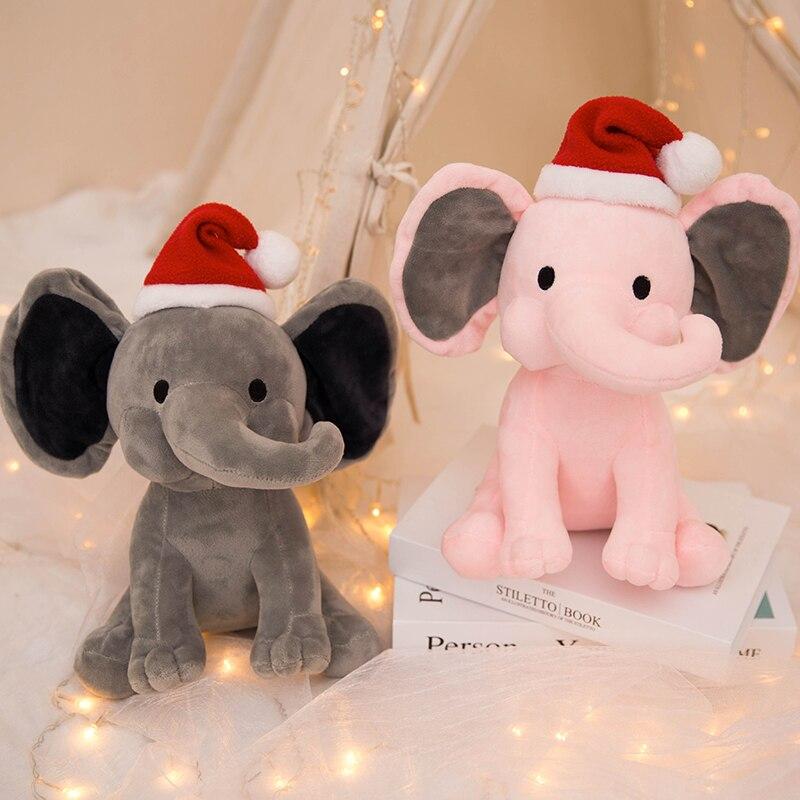 25 см Рождественский слон, плюшевая игрушка, милая фотокартинка, розовый, серый слон, кукла для малышей, детей, рождественский подарок недорого