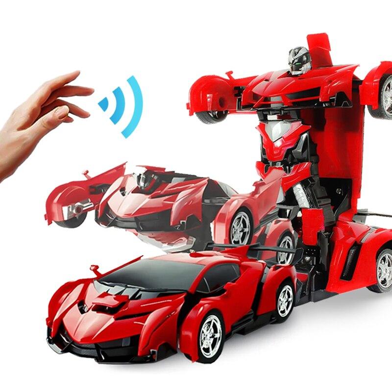 Радиоуправляемая машинка-трансформер, робот-машинка, игрушки, электронный пульт дистанционного управления, транспортные средства с одной кнопкой, 2 в 1, радиоуправляемая светодиодная машина